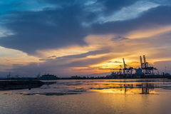 Shores near Djibouti port. A beautiful sunset over the port of Djibouti on the Red sea stock image