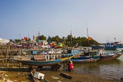 On the shores of the South China Sea. It' fishing port, Hoi An Vietnam Royalty Free Stock Images