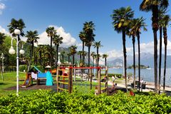 Summer scene in Stresa, famous resort on the western shore of Maggiore Lake Royalty Free Stock Photos