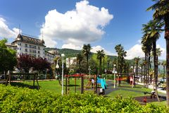STRESA, ITALY - 11MAY, 2018 - summer scene Stresa, famous resort on the western shore of Maggiore Lake Royalty Free Stock Images