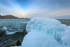 On the shores of the winter sea. East Sea. Stock Photo