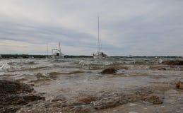 Shoreside d'île de Formentera pendant la vue de large d'hiver photographie stock