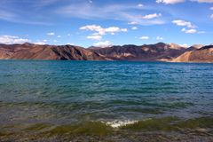 Shoreside view of Pangong Tso Lake Royalty Free Stock Photo