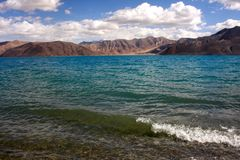 Shoreside view of Pangong Tso Lake Royalty Free Stock Image
