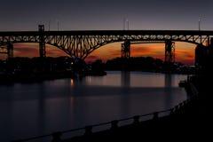 Shoreway-Brücke - Cleveland, Ohio stockbilder