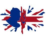 SHORLOCK mit britischer Markierungsfahne Stockbild
