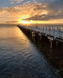 Shorncliffe jetty. At sunrise. QLD, Australia Stock Photos