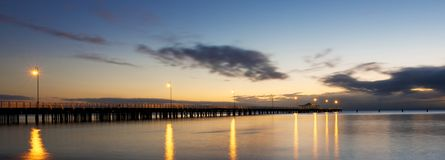 Shorncliffe jetty. At before sunrise QLD, Australia Stock Photography