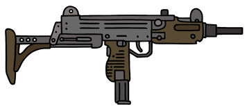 Short automatic gun. Old short automatic gun, hand drawn vector illustration Vector Illustration