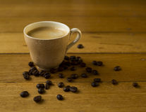 Short Black. Coffee and coffee beans Stock Images