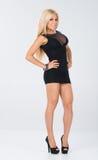 Short black dress themed shoot. Stock Image