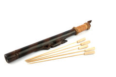 Short  Blowpipe and Darts Made by Dayak People of Borneo Stock Image