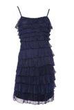 Short blue dress with tinsel Stock Photos
