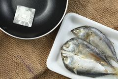 Fish in tray scene. The short bodied mackerel fish put on the food grade foam tray among sack background in the scene appear the pan also represent the fish and Royalty Free Stock Photos