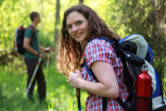 Short break during a Nordic Walking tour Stock Image