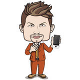 Adult Male Businessman holding a smart phone. Short brown hair adult male business man, in business suit, on nice brown leather shoes, holding a touch screen Stock Image