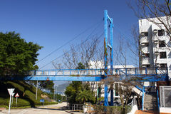 Short Span Footbridge. A very short span footbridge located at the University of Science and Technology, Hong Kong.  The span length is about 20m only Royalty Free Stock Photos