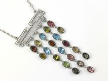 Short chain with gemstone pendant Royalty Free Stock Images
