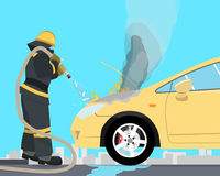 Short circuit in the car. The fireman extinguishes a car that burned up from the short circuit of wiring. Vectorial illustration Stock Images