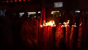 Short Clip of Incense Burning at Chinese New Year Festival. Incense Burning at Chinese New Year Festival in Chinatown Georgetown Malaysia stock video