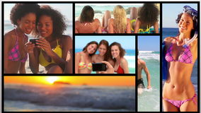 Short clips about people on the beach stock video footage