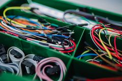 Short colorful connection cables for basic electronics embedded. Systems experiments Royalty Free Stock Photography