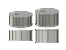 Short cylindrical aluminum  tin can with pull tab, clipping path. General  short cylindrical aluminum tin can  packaging  with  blank label  for variety food Royalty Free Stock Image