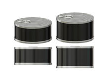Short cylindrical black label  tin can with pull tab, clipping p. General  short cylindrical can  packaging  with black  label  for variety food product ,ready Stock Photo