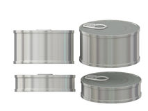 Short cylindrical blank aluminum  tin can with pull tab, clippin. General  short cylindrical can  packaging  with blank label  for variety food product ,ready Stock Image