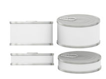 Short cylindrical white blank label  tin can with pull tab, clip. General  short cylindrical can  packaging  with white blank label  for variety food product Stock Images