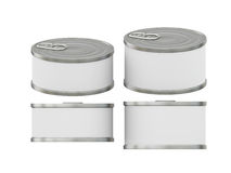 Short cylindrical white label  tin can with pull tab, clipping p. General  short cylindrical can  packaging  with white blank label  for variety food product Royalty Free Stock Photo