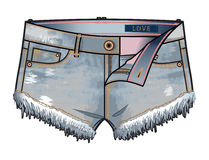 Short denim shorts. Front view of denim shorts with unzipped fly royalty free illustration