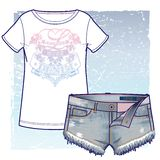 Short denim shorts and T-shirt with vintage looking eclectic print. Short denim shorts with unfinished edges and T-shirt with vintage looking eclectic print stock illustration