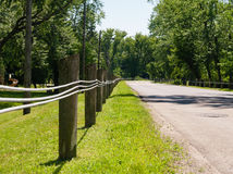 Short fence posts with steel lines Royalty Free Stock Photos