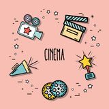 Short film cinematography production studio. Vector illustration Royalty Free Stock Image