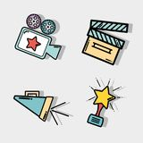 Short film cinematography production studio. Vector illustration Royalty Free Stock Images