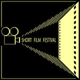Short film festival, cinema film festival poster. Template. Black and Gold. Vector illustration Stock Photography