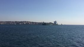 Short film of the ship on istanbul bosphorus stock video