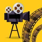 Short film video camera with reel filmstrip. Vector illustration Royalty Free Stock Images