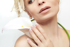Short French manicure. Royalty Free Stock Photos