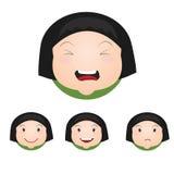 Short Girl Children face icons. Short Girl Children face Emotion Stock Images