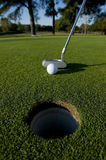 Short Golf Putt. A very short putt in the game of golf on a putting green at a golf course with copy space Royalty Free Stock Images