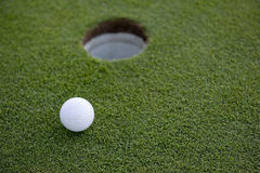 Short Golf Putt. A short putt in the game of golf on a putting green with a golf ball Royalty Free Stock Photos