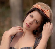 Short Hair And Vintage Hat Royalty Free Stock Photography