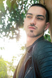 Short hair beautiful man. Handsome young sunshine male Stock Image