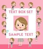 Short hair black high necked woman text box. Set of various poses of Short hair black high necked woman text box Royalty Free Stock Image