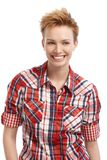 Short hair gingerish woman with a big smile. Short hair gingerish woman smiling, looking away Stock Image