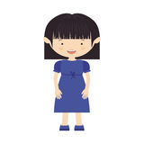 short hair girl with blue dress Royalty Free Stock Photo