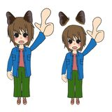 Short Hair Girl with Cat Ears Pointing Up. Vector Illustration. isolated on White Background. Short Hair Girl with Cat Ears Pointing Up. Vector Illustration Stock Photo