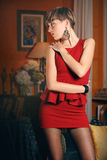 Short hair model in fashion pose Stock Image